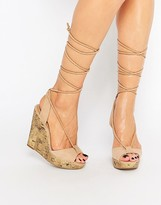 Call it SPRING Treawen Ghillie Lace Up Wedge Sandals