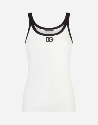 Dolce & Gabbana Jersey Tank Top With Logo