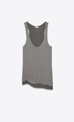 Saint Laurent Destroyed Tank Top In Ribbed Jersey Grey 10