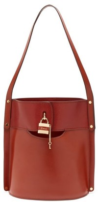 Chloé Aby Leather Bucket Bag - Dark Brown