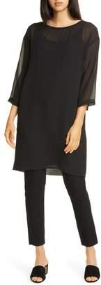 Eileen Fisher Ballet Neck Silk Shift Dress
