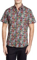 Stone Rose Men's Slim Fit Floral Print Sport Shirt