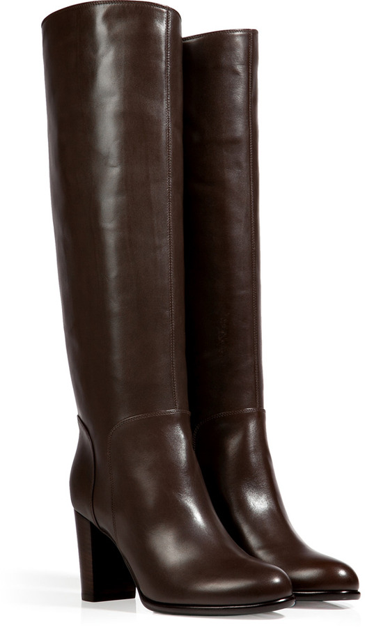 Sergio Rossi Leather Tall Boots in Ebony