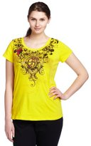 Southpole Junior's Plus Size Scoop Neck Floral Fashion Tee