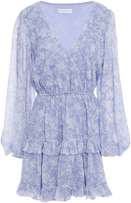 Caroline Constas Fae Tiered Floral-print Chiffon Mini Dress