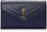 Saint Laurent Monogram Blue Textured and Quilted Leather Wallet Clutch w/Chain