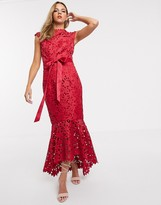 Chi Chi London crochet lace midaxi dress in red