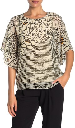Donna Karan Woman Short Ruffle Sleeve Floral Print Top