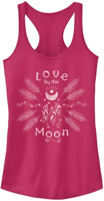 Fifth Sun Juniors' Love By The Moon Feathers Graphic Tank