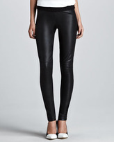 Cusp by Neiman Marcus Leather-Front Ponte Leggings
