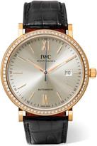IWC SCHAFFHAUSEN - Portofino Automatic 40 Alligator, 18-karat Red Gold And Diamond Watch - Rose gold