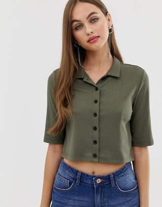 Noisy May cropped rib shirt-Green