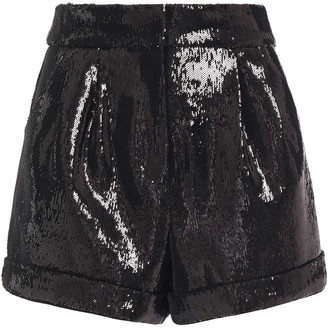 Maje Sequined Stretch-crepe Shorts