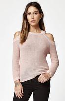 La Hearts Cold Shoulder Pullover Sweater