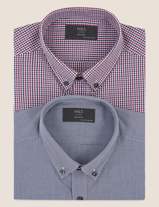 Marks and Spencer 2 Pack Regular Fit Gingham Long Sleeve Shirts