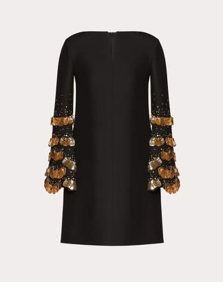 Valentino Embroidered Crepe Couture Dress Women Black/gold Virgin Wool 65%, Silk 35% 38