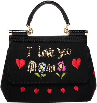 Dolce & Gabbana Black Canvas and Python Small I Love You Mama Miss Sicily Top Handle Bag
