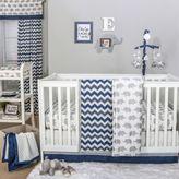 The Peanut Shell Chevron Crib Bedding Collection in Navy/Grey