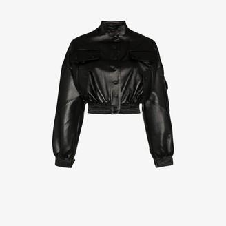 MATÉRIEL Cargo Pocket Faux Leather Bomber Jacket
