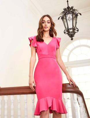 Forever New Montie Frill Sleeve Dress - Fuchsia - 4