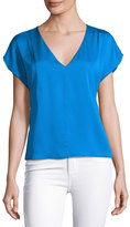 Milly Short-Sleeve Seamed V-Neck Stretch-Silk Top