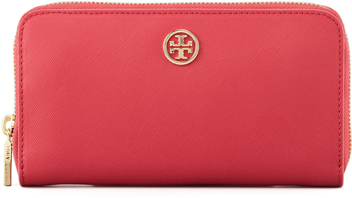 Tory Burch Robinson Zip Continental Wallet, Red