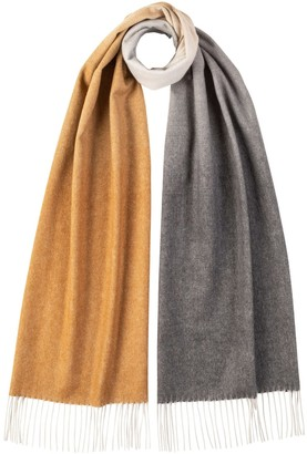Johnstons of Elgin Oversized Ombre Cashmere Scarf Natural Multi