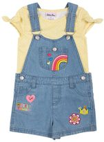 Little Lass Toddler Girl Print Tee & Patch Denim Shortalls Set