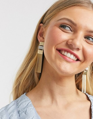 Glamorous statement chain fringe earrings in gold