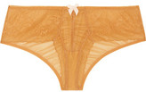 Eberjey Michaela Low-Rise Ruched Lace And Stretch Tulle Briefs