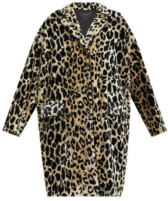 Giambattista Valli Leopard-jacquard Single-breasted Velvet Coat - Beige Multi
