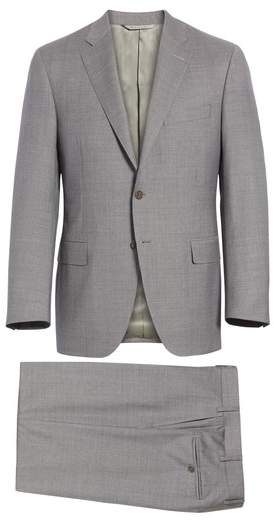 Canali Classic Fit Microcheck Wool Suit