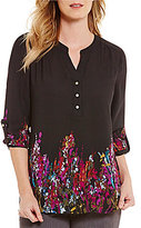 Investments Petites Long Sleeve Roll Tab Y-Neck Popover