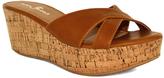 Fashion Focus Cognac Bee Crisscross-Strap Wedge Sandal