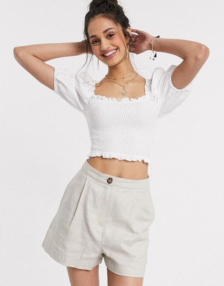 Miss Selfridge poplin puff sleeve shirred blouse in white
