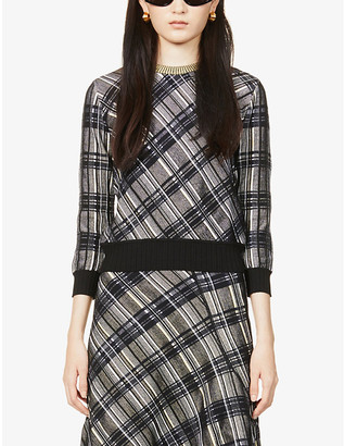 Sportmax Fabiana checked knitted jumper