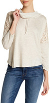 Bobeau Lace Shoulder Sweatshirt (Petite)