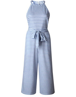 Goodnight Macaroon 'Roddy' Striped Halter-neck Belted Jumpsuit (4 Colors)