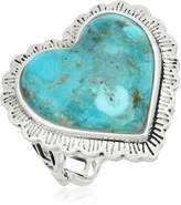 Barse Sterling Silver and Genuine Turquoise Heart Ring Size 7