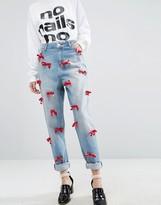 Asos WAH LONDON x Boyfriend Jeans With Velvet Bows