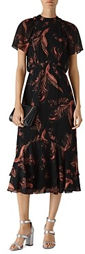 Whistles Rose Paisley-Leaf Print Dress