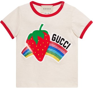 Gucci Kids Baby T-shirt with strawberry print