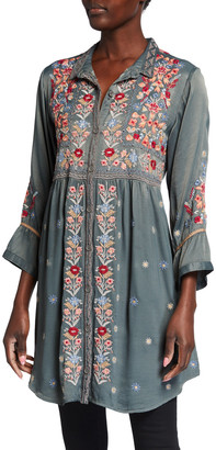 Johnny Was Nisha Floral Embroidered Satin Blouse