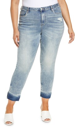 Blank NYC The Madison Dip Split Raw Hem Crop Slim Straight Leg Jeans