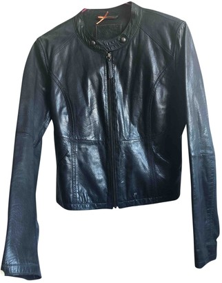 BOSS ORANGE Navy Leather Leather Jacket for Women