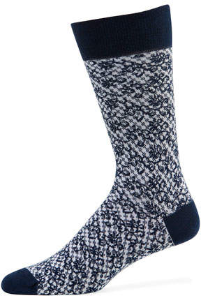 Neiman Marcus Men's Buffalo Check Socks with Floral Detail