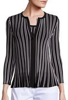 St. John Striped Zip-Front Peplum Cardigan