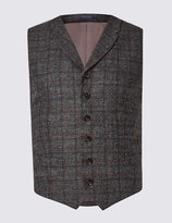 Marks And Spencer Pure Wool Checked Waistcoat