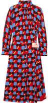 Prada Gathered Printed Georgette Dress - IT42