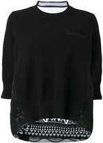 Sacai Tribal organza back knitted top - women - Cotton/Polyester - 1